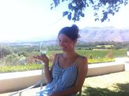 Stephi beim Wine Tasting