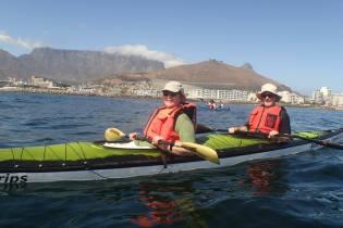 Kayakfahren mit bester Kulisse inklusive Delfinen und Pinguinen als Begleiter